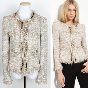 MCGINN Elizabeth Metallic Boucle Jacket Fringed